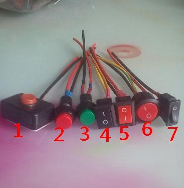 best selling MIX 7kinds Push Button Switch Rocker Switches with wire for auto,motorcycle Modified 12v 24v