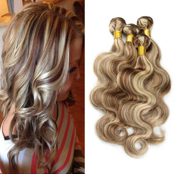 Klavier Farbe # 8 Hellbraun Mit # 613 Blonde Haarwebart 3 Bundles Lot Mischfarbe Ombre Brasilianische Körperwelle Reine Menschenhaarverlängerungen