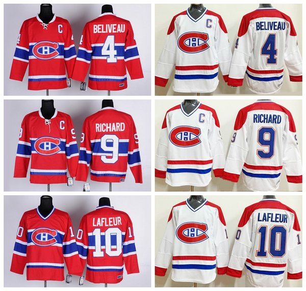 Montreal Canadiens Trikots Eishockey 4 Jean Beliveau Trikot Rot Weiß 10 Guy Lafleur 9 Maurice Richard CCM Trikots