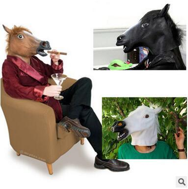Creepy Horse Head Cover Mask Party Animal Masquerady Mask Customer Party Supplies Halloween Cosplay Masks Funny Novelty Mask Free Shipping