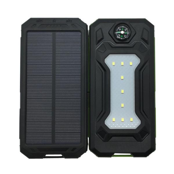 Banco de energía solar 20000mah con brújula LED celular Pover Cargador portátil Batería Teléfono móvil externo para Xiao Mi Powerbank Camping luces