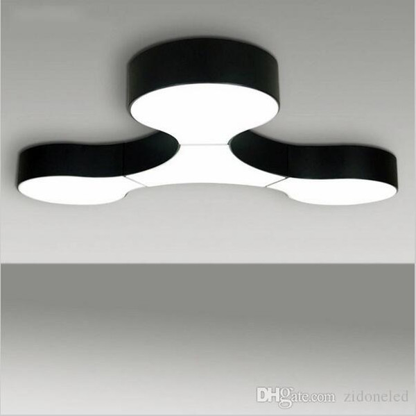 Lámpara de techo moderna proyecto masivo lámparas de combinación libre Negro Blanco Accesorios personalizados Moderno enlace molecular luces LED iluminación del hogar decora