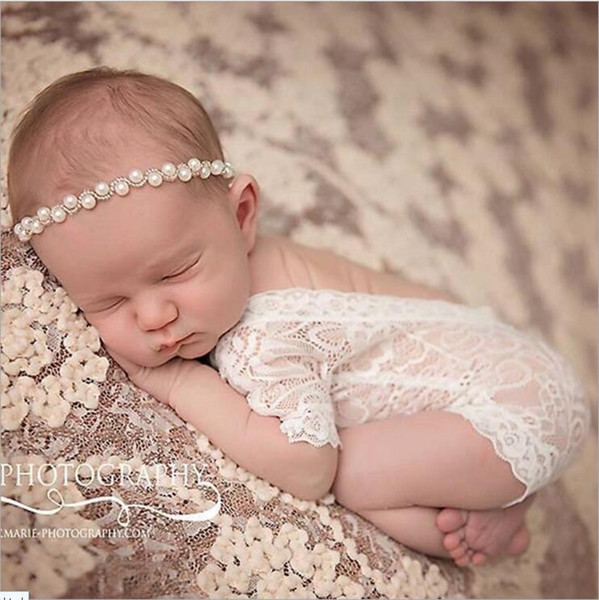 top popular 2017 Newborn Baby Lace Romper Baby Girl Cute petti Rompers Jumpsuits Infant Toddler Photo Clothing Soft Lace Bodysuits 0-3M KBR01 2019