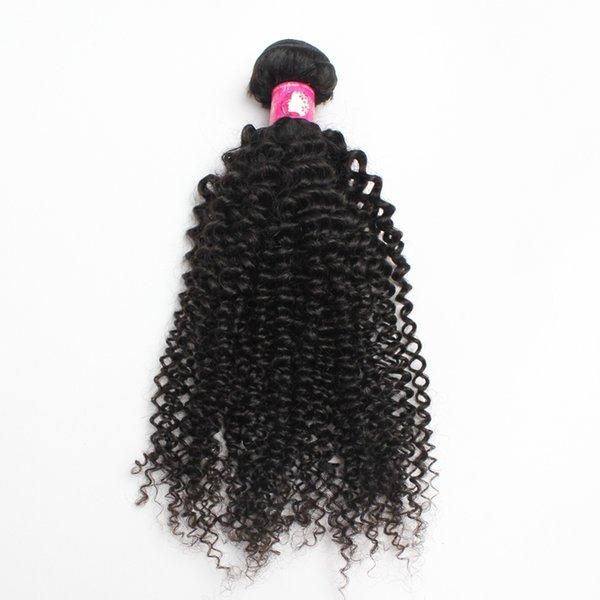 1 2pcs/lot Virgin Brazilian Kinky Curly Wave Human Hair Weaves Cheap Unprocesse Peruvian Hair Weft Soft Remy Forawme Hair #1B 10-30inch