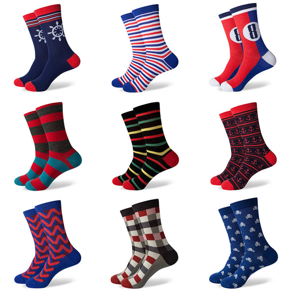 best selling Match-Up New men's combed cotton socks brand man dress knit socks Wedding Gifts Happy socks US size(7.5-12) 387-459