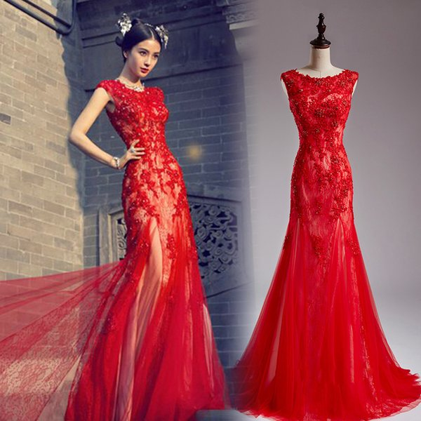 Actual Image Red Mermaid Evening Dresses 2017 O Neck Lace Applique