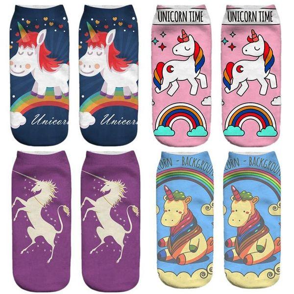 Harajuku emoji Unicorn Baskı 3D Çorap Kadınlar Kawaii Düşük Kesim Ayak Bileği Kısa Licorne Sevimli Komik Sanat Çorap Sıcak Satış 20170714