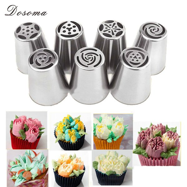 Wholesale- 7pcs/lot Metal Stainless Steel Cutters Professional Cake Decorators Russian Pastry Nozzles Piping Tips for the Kitchen Baking