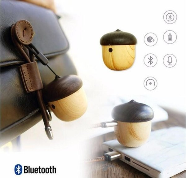 Nut Speaker Wooden bluetooth speaker mini Unique Design with Built-in Microphone & Strap Wood Loudspeaker for iPhone 7 6 Android Retail Box
