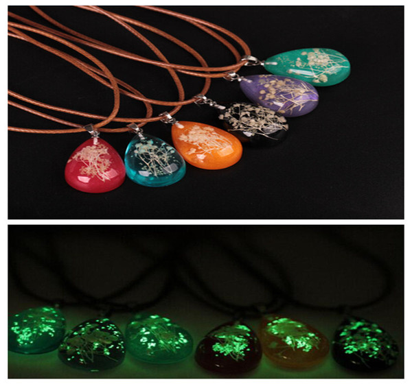 Women Sweater Chain Quality Alloy Dried flowers Crystal Luminous Ball Pendant Necklace Vintage Jewelry Glow In The Dark