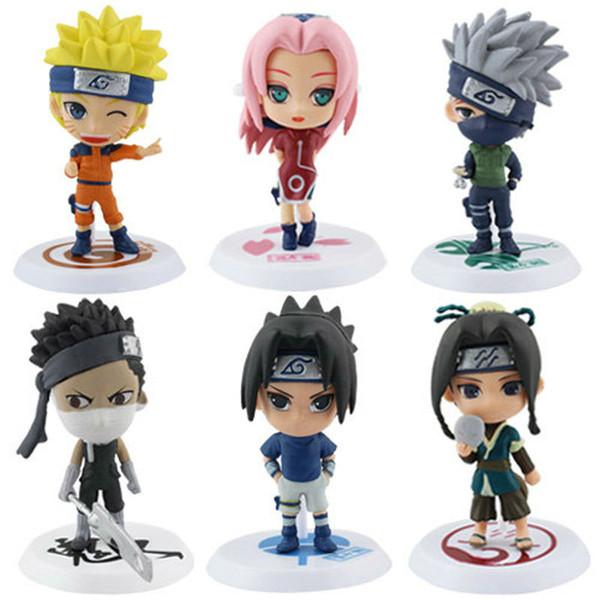 Compre Dibujos Animados De Anime Naruto Uzumaki Naruto Sakura Sasuke Kakashi Pvc Figura Juguetes Modelo De Colección Figuras Q Versión 6 Unids Set A
