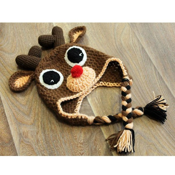 bd2c7bc3b14aa 2019 Handmade Crochet Cute Rudolph Red Nosed Moose Hat