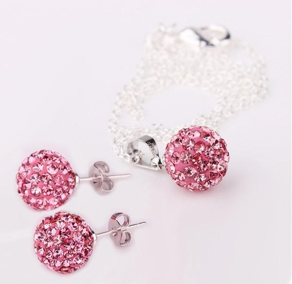 Earrings Necklace Jewelry Fashion Shamballa Sets 10mm Micro Pave Disco Ball Beads Shamballa Necklace Earrings Shamballa Jewelry