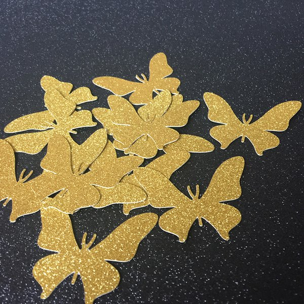 Wholesale- (50pieces/lot) Gold Glitter Butterfly Wedding Confetti Table Decoration