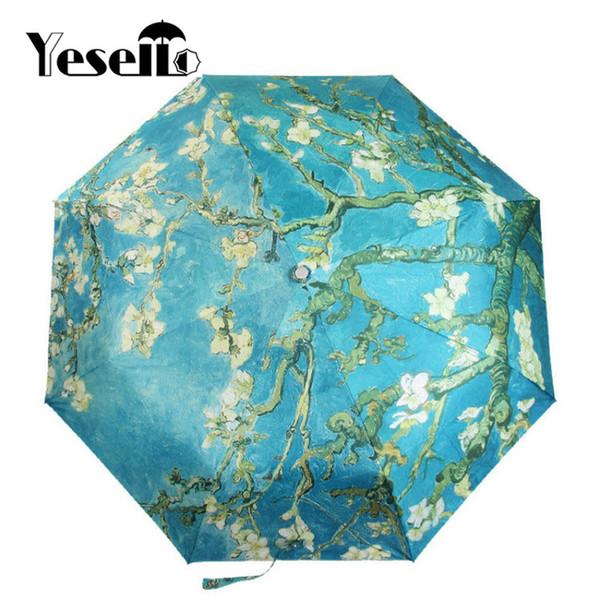 Yesello Vincent van Gogh Almond Blossom Oil Painting Three Folding Art Umbrella 8 Rib Wind Resistant Frame For Women