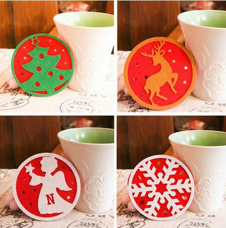2018 Christmas Coaster Christmas Gift Cartoon Coasters for Mugs Heat Insulation Home Decor Christmas Trees Snowflake Dear Angle Snowman