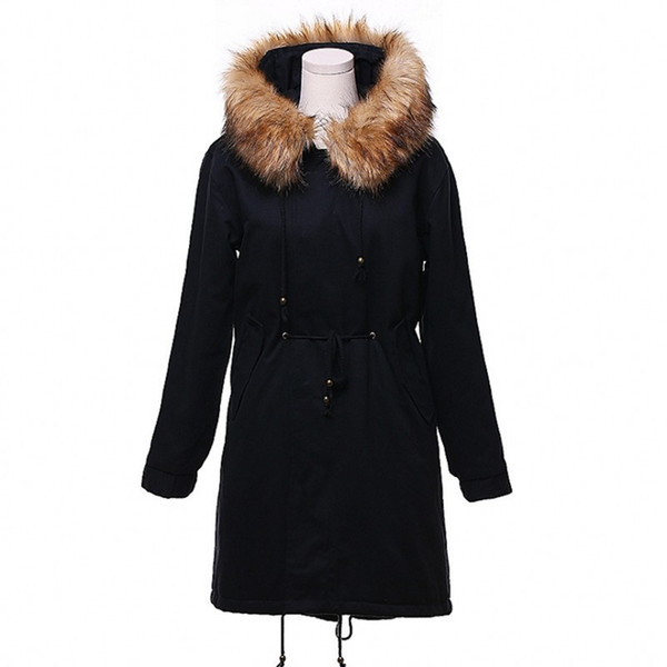Acheter 2018 Femmes Hiver Veste Fausse Fourrure Col Parka Épais Neige Porter Manteau Lady Vêtements Berbère Polaire Femme Vestes Filles Parkas