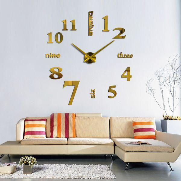 Großhandel 3d Große Quarzuhr Stillleben Uhren Wohnzimmer Wanduhr Dekoration  Silber Aufkleber Uhren Für Wohnkultur Acryl Spiegel Von Herbertw, $34.24 ...