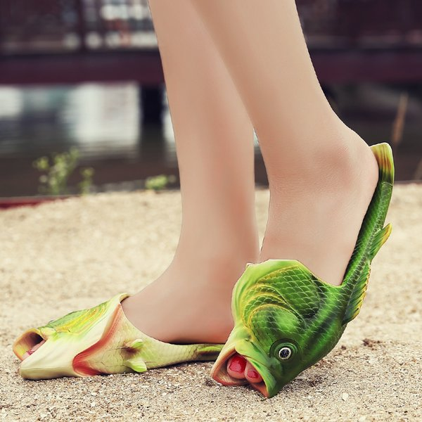 Summer Creative Fish Sandles Fashion Parent-Kid Matching Shoes Antiskid Beach Casual Shoes EVR Cool Slippers Personality fish sandals 31-44