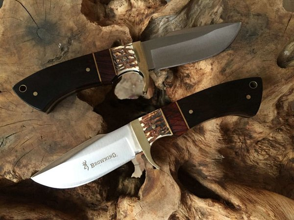 Top Quality New Survival Hunting Knife 7Cr17 57HRC Satin Blade Anlter&Ebony Handle Fixed Blade Knives With Leather Sheath