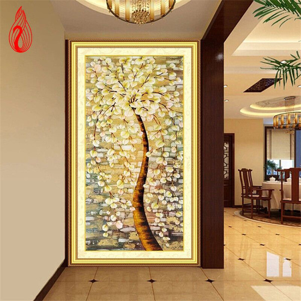 YGS-076 DIY 5D Full of Diamonds Embroidery Diamond Mosaic Pachira macrocarpa Round Diamond Painting Cross Stitch Kits Home Decor