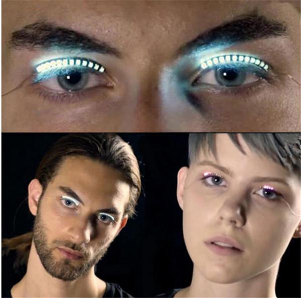 Lashes Interactive LED Eyelashes Luminous False Eyelash Waterproof Eyelid Tape for Dance Concert Halloween Christmas Nightclub Party new