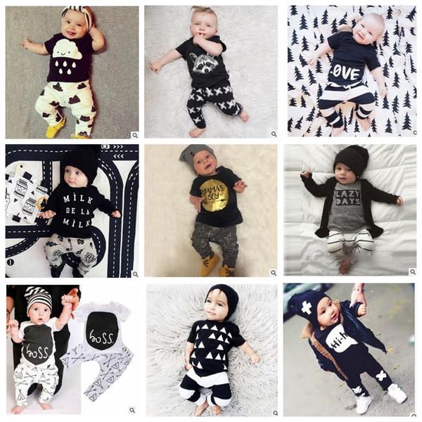 Bebek Giysileri Ins Takım Elbise Erkek Yaz T Shirt Pantolon Mektup Baskı Pantolon Kız Moda Rahat Gömlek Pantolon Tops Uzun Kollu Kıyafetler KKA2140