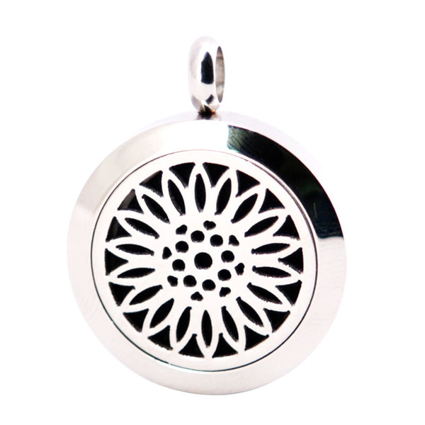 Sun Flower 25mm Diffuser 316 Stainless Steel Necklace Pendant Aroma Locket Essential Oil Diffuser Lockets Send 100pcs Oils Pads As Gifts