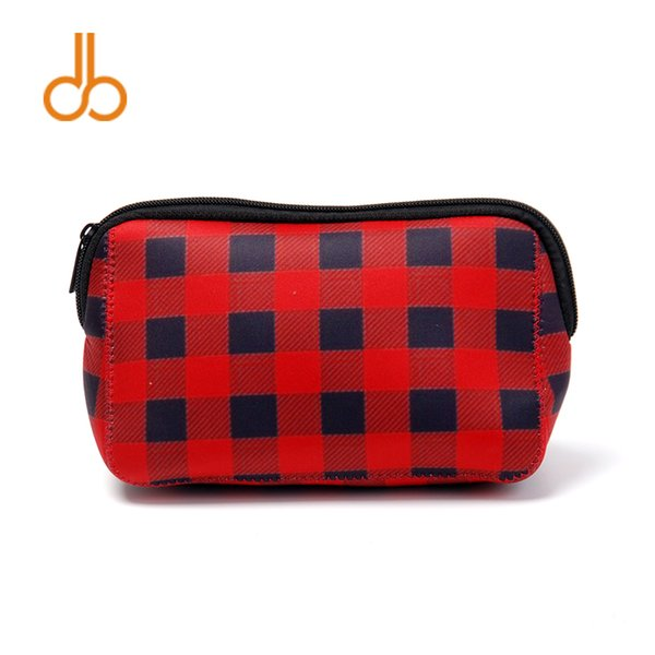 Triangle Christmas Check Cosmetic Case Neoprene Buffalo Plaid Makeup Bag Women Accessories Hand Bag Free Shipping DOM106529