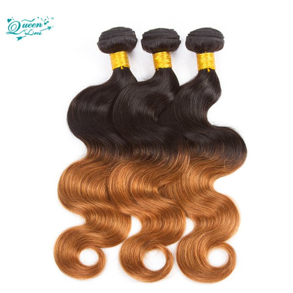 7A Ombre Brazilian Virgin Hair Body Wave 3 Bundles T1B/4/27 Ombre Brazilian Hair Weave Bundles Queen Love Ombre Hair Extensions