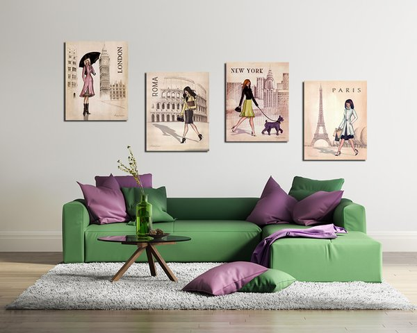4 Panels Paris, London, Roma and New York Set Canvas Painting Home Decor Canvas Wall Art Picture Digital Art Print for Room Wall