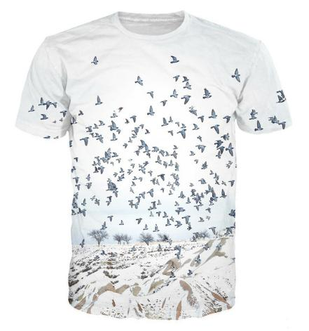 New Fashion Mens/Womans Flying Birds During The Winter T-Shirt Summer Style Funny Unisex 3D Print Casual T-Shirt AA363