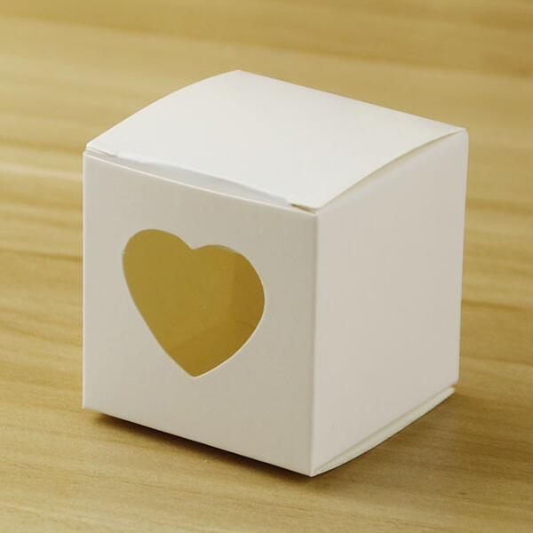 """New Arrivals-50Pcs/lot 2""""x2""""x2"""" Square white/pink/Silver color Wedding Candy Boxes with Heart Window Birthday Gift Box Chocolate candy box"""