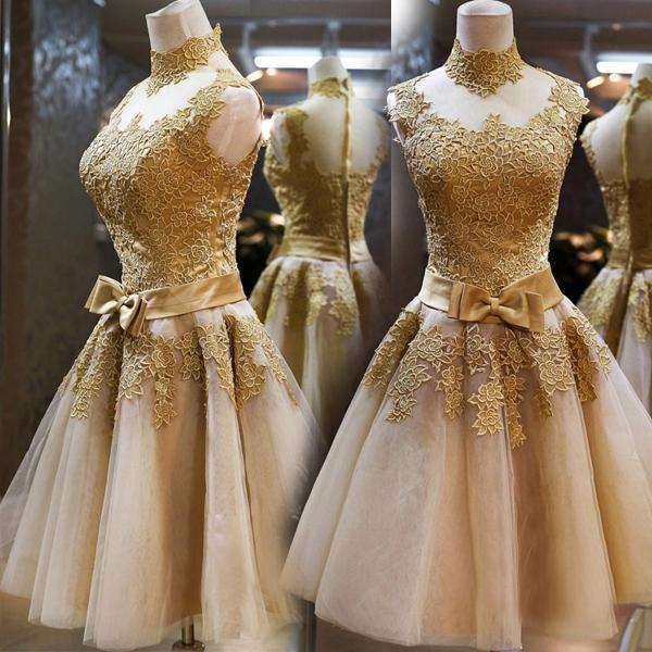 152743bc5ce Angel golden lace short dinner banquet wedding evening dress annual meeting  celebrity bridesmaid dresses