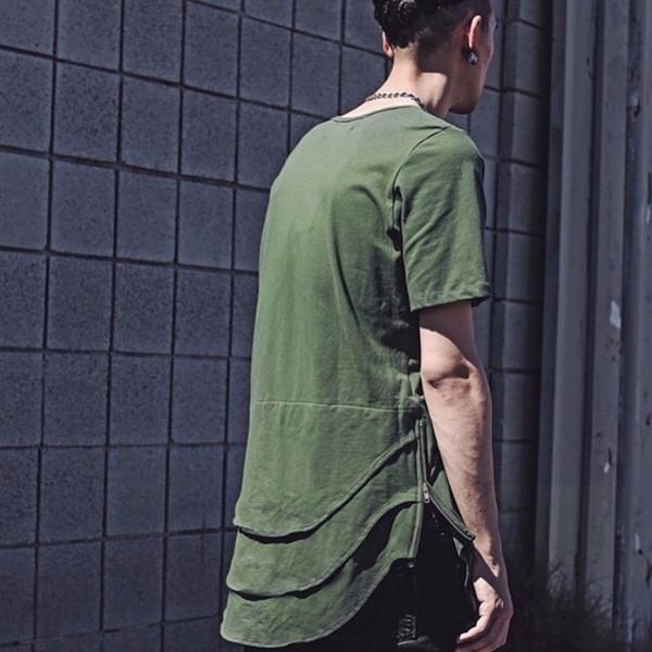 Men multiple creases side zipper t-shirt kanye west hip hop shirt mens extended rock swag clothes oversized tees