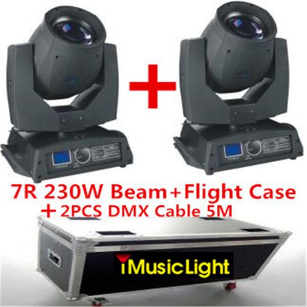 2pcs Sharpy Beam 230W Beam 7R Moving Head Light with Flight Case +2PCS DMX Cable 5M Disco Lights for DJ Club Nightclub Party
