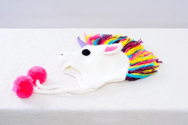 2019 Toddler Unicorn Ear Flap Crochet Hat Children