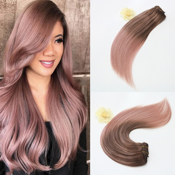 14 24inch 100g Full Set Clip In Hair Extensions Ombre Balayage Human Hair Clip In Human Hair Extensions Color Rose Gold Hair Extension With Clips