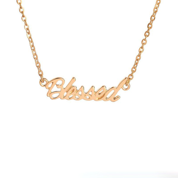 Gold Silver Plated Tiny Stamped Lucky Letters Necklace Simple Blessed Word Good Luck Necklaces for Friends free shipping