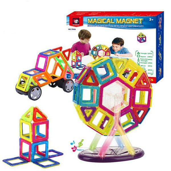 71 PCS Set Magnetic Building Blocks Kids Magnet Construction Toy Rainbow Color for Creativity Educational Children's Christmas Gift wit