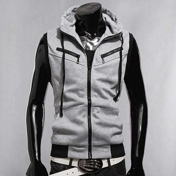 Heißer Verkauf 2016 Mode Hoodies Gestrickte Sport Sleeveless Jacke Weste Männlichen Slim Fit Mit Kapuze Reißverschluss Sweatshirt 3 Farben L XL XXL