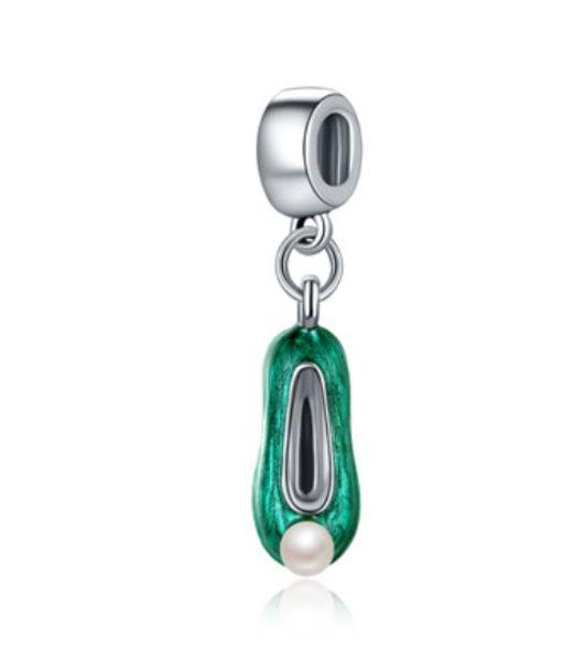 Fits Pandora Bracelets 30pcs Silver Green Enamel Pearl Shoes Dangle Charm Bead Pendant Beads For Wholesale Diy European Sterling Necklace