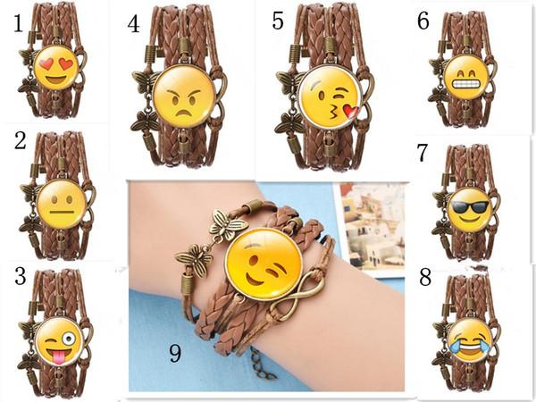Emoji Infinity Bracelet Handmade Leather Butterfly Braided Smile Kiss Eye Faces Pendant Wristband Adjustable Chain Lovely