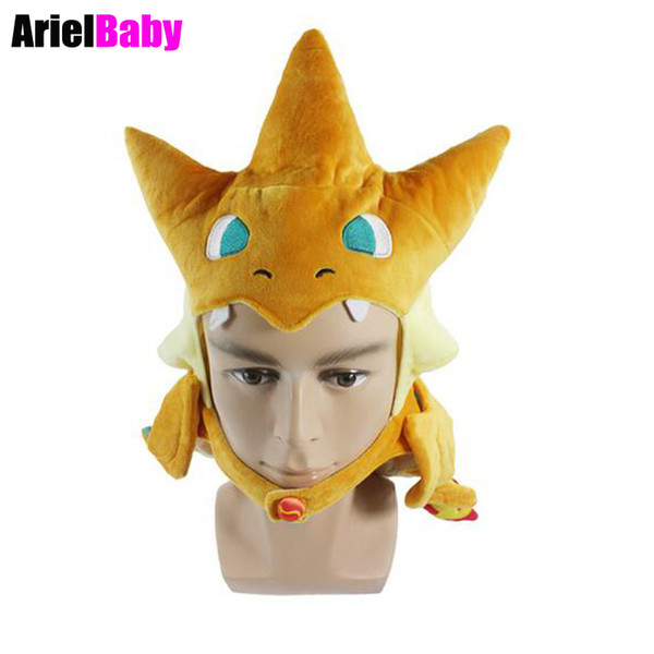 New Japanese Cartoon Toy New Charizard Cosplay Hat Plush Caps for Adults Anime Plushie Christmas Gift Perimeter Approx 57cm