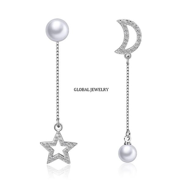 best selling Japan and South Korea stars fringed Silver Earrings Ear line female long simple zircon pearl silver earrings earrings sexy personality