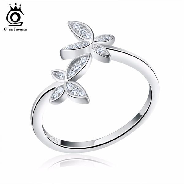 오서 보석 실버 925 조정 가능한 여성 반지 크리스탈 플라워 디자인 스털링 실버 패션 시뮬레이션 다이아몬드 주얼리 SR10