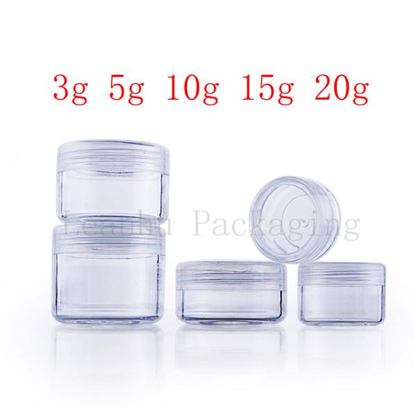 Vacíe la botella de plástico transparente pequeña y redonda transparente pote de crema transparente para el envasado de cosméticos, Mini contenedor de muestras de cosméticos