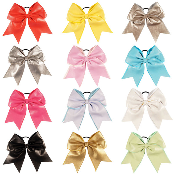 8 Inch Leather Cheer Bow With Elastic Hair Tie For Cheerleader Girl Elastic Bands For Baby