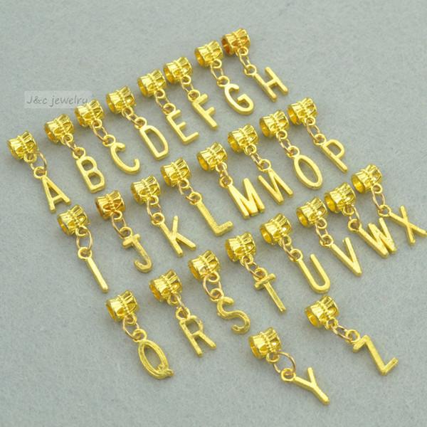 Großhandels-Neues 26pcs mischte Metallcharme Gold überzogenes Buchstabealphabet großes Lochkornanhänger passt europäische Armbandschmucksachen handgemachtes 3113