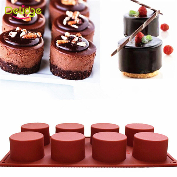 8 Holes Round Shape Silicone Cake Tools 3D Handmade Cupcake Jelly Pudding Cookie Mini Muffin Soap Maker DIY Baking Tools